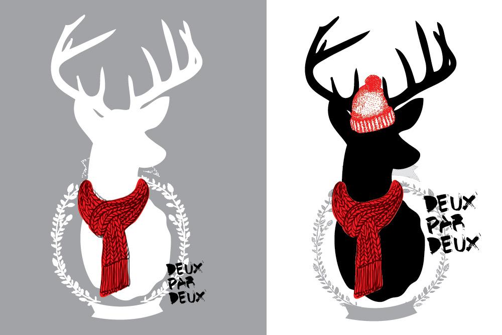 Северный олень - главный рисунок в новой коллекции зимних комбинезонов Deux par Deux 2014-2015
